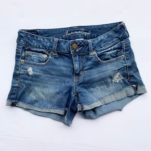 AMERICAN EAGLE Sz 4 Cut Off Jean Denim Shorts